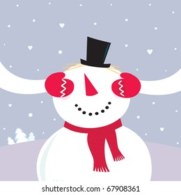 Valentine´s Day Surprise! Snowy couple in love. VECTOR