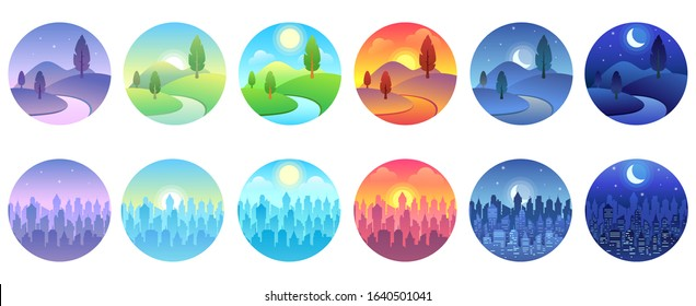 Day time landscape. Dawn, morning city, sunny day, evening sunset, twilight field, night cityscape round vector icon set. Collection of circular natural and urban sceneries in modern flat style.