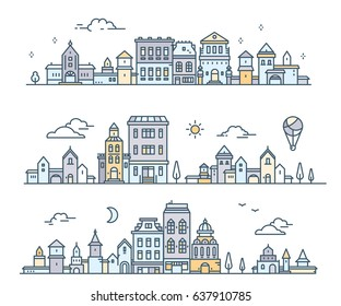 Day urban european city with tree, cloud, aerostat. Vector illustration of three variation detailed city landscape on white background. Thin line art design for web, site, advert, horizontal banner
