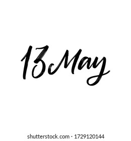 DAY VECTOR HAND LETTERING ICON. the 13 of may. FOR CALENDAR