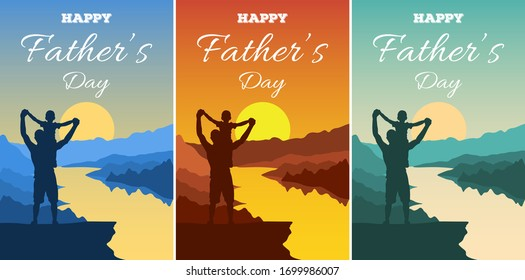 Father's Day vector illustration. Silhouettes of dad and children against a backdrop of an adventure landscape with mountains, rive and sky. Happy family men and boy outdoors. Traveling with children.