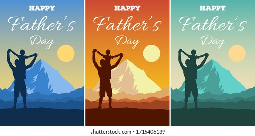 Father's Day vector illustration. Silhouettes of dad and children against a backdrop of an adventure landscape with mountains, sun and sky. Happy family men and boy outdoors. Traveling with children.