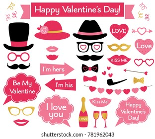 Valentine's Day vector photo booth props and decoration