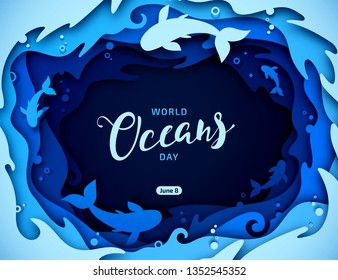 Day of Water and World Oceans Day, paper art. Global celebrate dedicated to protect and conserve oceans, problem of plastic water pollution, ecosystem, ecology of planet. Origami of sea waves, fishes