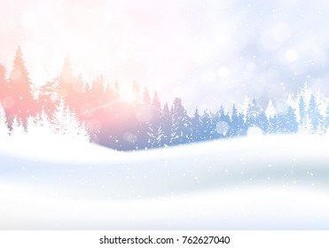 Day In Winter Forest Woodland Landscape White Snowy Pine Tree Woods Background Flat Vector Illustration