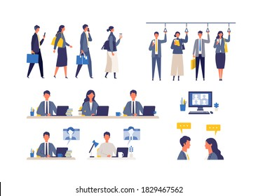 A day of working businessmen. Flat design vector illustration of business people. Concept for working.