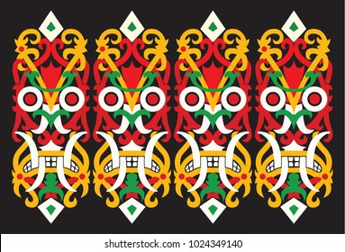 Dayak traditional ornaments also exist on the defense shield used by the army of war.