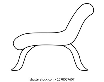 Daybed or chaise longue on high legs - vector linear illustration for coloring. Outline. Lounge furniture - chaise lounge or large armchair for coloring