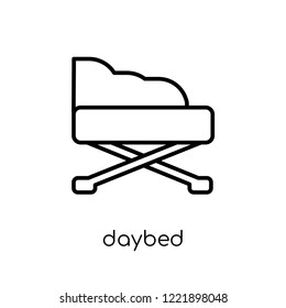 daybed icon. Trendy modern flat linear vector daybed icon on white background from thin line Furniture and household collection, outline vector illustration