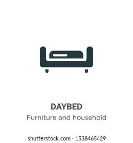Daybed vector icon on white background. Flat vector daybed icon symbol sign from modern furniture and household collection for mobile concept and web apps design.