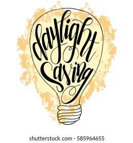 Daylight saving, Banner for earth hour. Hand drawn lettering for design. Vector illustration