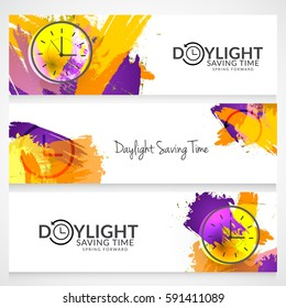 Daylight Saving Time Concept With Clock And Lettering Design,Header Or Banner Background.