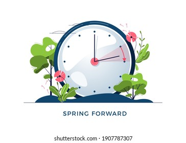 Daylight Saving Time concept. The clocks moves forward one hour. Floral landscape with text Spring Forward, the hand of the clocks turning to summer time, for website design. Flat vector illustration