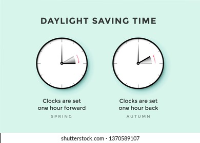 Daylight saving time. Set of clock time for Spring forward, Autumn back, Summer time. Banner, poster for daylight saving time. Vector Illustration