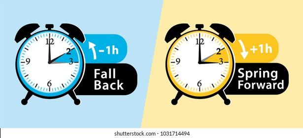 Daylight saving time. Spring forward and fall back alarm clocks set. vector illustration.