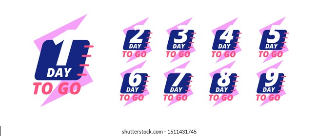 Days to go badges. Countdown sale labels with day left numbers. Product promotion, big deal offer vector stickers set