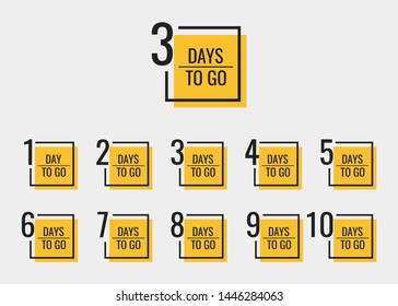 Days left to go from 1 to 10. Geometric banners design template for your needs. Modern flat style vector illustration.