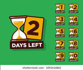Days Left with Sand Timer Hourglass Badge for Sale or Retail