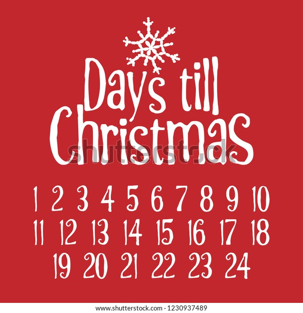 Countdown Till Christmas.Days Till Christmas Merry Xmas Advent Stock Vector Royalty