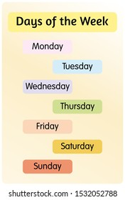 Days of the week banner for education
