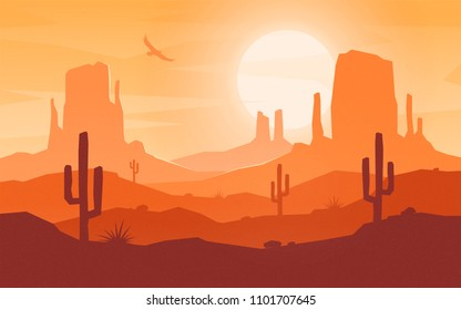 Daytime cartoon flat style desert landscape. Vector illustration.