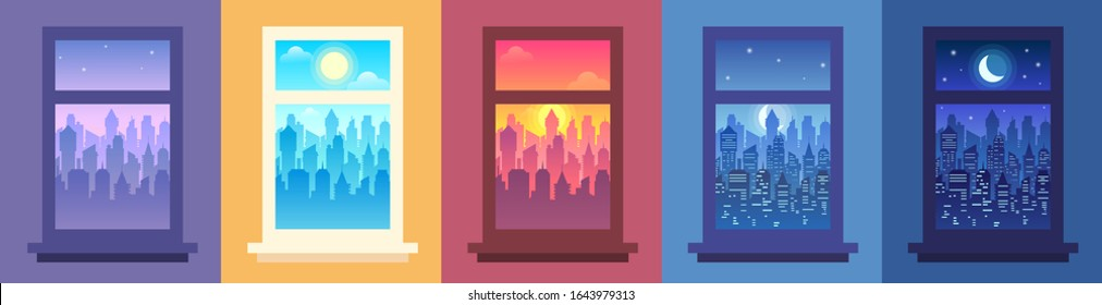 Daytime city landscape in window. Change of time of day, night city view from window and cityscape in frame vector illustration set. Modern urban panoramas with skyscrapers seen from inside building.