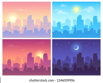 Daytime cityscape. Morning, day and night city skyline landscape, town buildings in different time and urban cityscape town sky. Architecture silhouette vector background collage set