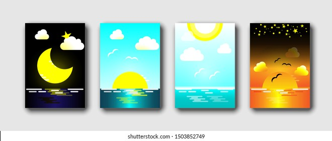 Daytime sea. Morning, day and night skyline, Ocean in different time and sea sky. Abstract background vector illustration set.