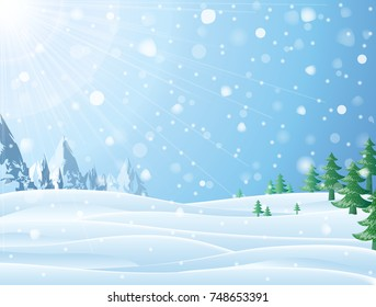Daytime snowy scene with ridge and christmas trees. Snowfall against winter landscape of mountains and pines. Vector image for new years day, christmas, winter holiday, new years eve, silvester, etc