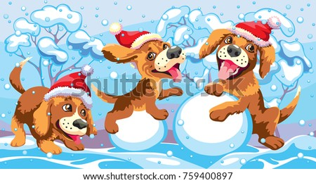 d78d4945bfde Daytime Winter Landscape Puppies New Years Stock Vector (Royalty ...