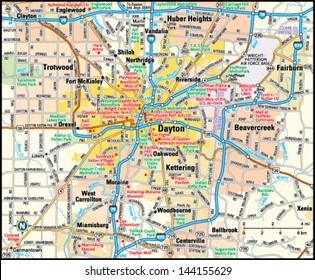 Dayton, Ohio area map