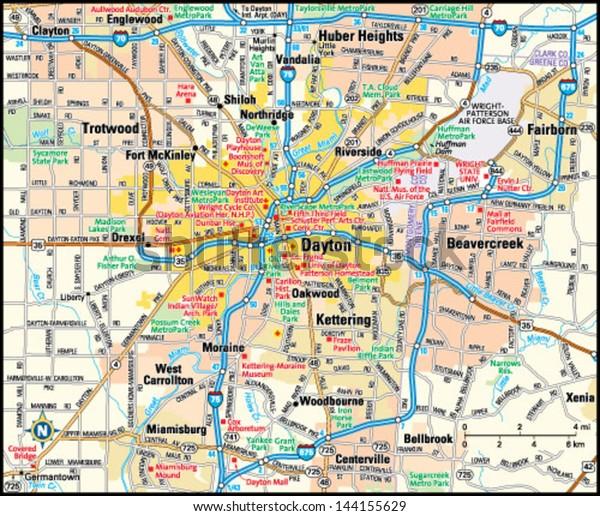 Dayton Ohio Area Map Stock-Vrgrafik (Lizenzfrei) 144155629 on