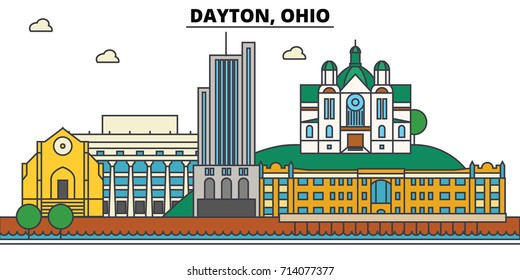 Dayton, Ohio. City skyline: architecture, buildings, streets, silhouette, landscape, panorama, landmarks. Editable strokes. Flat design line vector illustration concept. Isolated icons