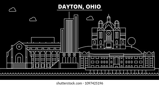 Dayton silhouette skyline. USA - Dayton vector city, american linear architecture, buildings. Dayton travel illustration, outline landmarks. USA flat icon, american line banner