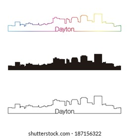 Dayton skyline linear style with rainbow in editable vector file