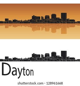 Dayton skyline in orange background in editable vector file