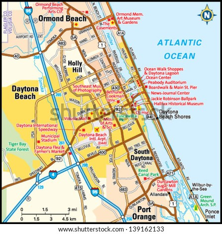 Map Of Florida Showing Daytona Beach.Daytona Beach Florida Area Map Stock Vector Royalty Free 139162133