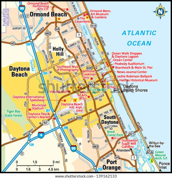 Daytona Beach Florida Area Map Stock Vector (Royalty Free ... on port orange map, ormond beach map, lake okeechobee on the map, ft. myers map, miami map, new yorker map, west palm map, nashville fairgrounds map, dunedin map, manchester united kingdom map, pompano beach map, deltona map, bradenton map, brandon map, dayton map, ft. lauderdale map, florida map, the keys map, giving directions map, st. augustine map,