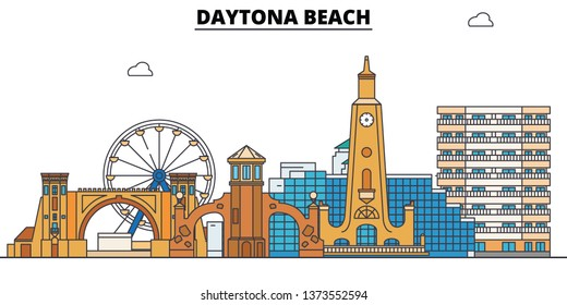 Daytona Beach , United States, outline travel skyline vector illustration.