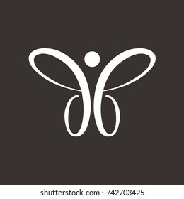 db or bb logo initial letter design template vector as a butterfly simple graphic