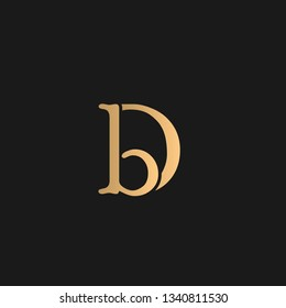 DB or BD logo vector. Initial letter logo, golden text on black background