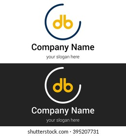 DB business logo icon design template elements. Vector color sign.