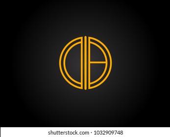 DB Circle Shape golden yellow Letter logo Design