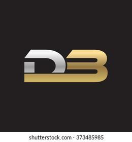 DB company linked letter logo silver gold black background