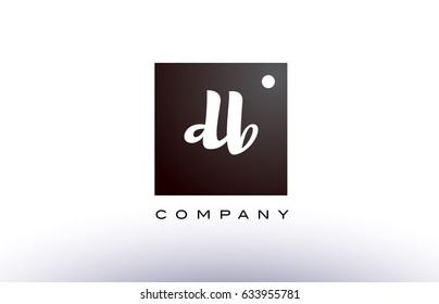 DB D B black white handwritten handwriting alphabet company letter logo square design template dot dots creative abstract