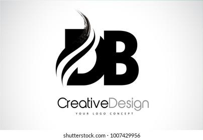 DB D B Creative Modern Black Letters Logo Design with Brush Swoosh