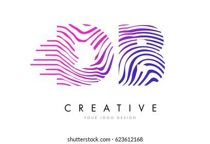 DB D B Zebra Letter Logo Design with Black and White Stripes Vector