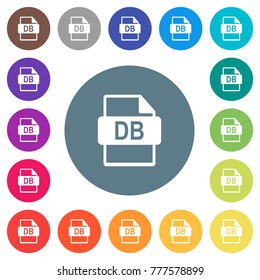 DB file format flat white icons on round color backgrounds. 17 background color variations are included.