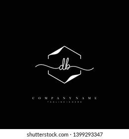 DB initial handwriting logo template vector