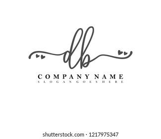 DB Initial handwriting logo vector